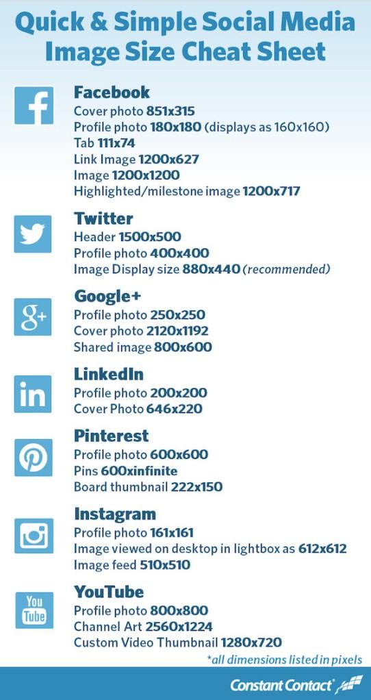 Social Media Image Size Cheat Sheet
